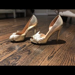 Badgley Mischka Shoes - Badgley Mischka Gold Peep Toe Pump- 6.5
